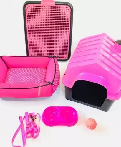 Kit luxo casinha plástica caminha sanitário para cães