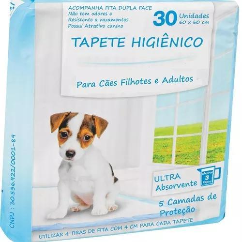 Tapete higiênico p/ cães 4 pacotes 120 unidades 60x60 fita