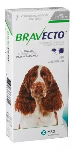 Antipulga carrapato bravecto 500 mg cães de 10 kg a 20 kg