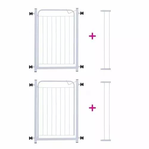 Kit 2 portões para cachorros grade de proteção + extensor
