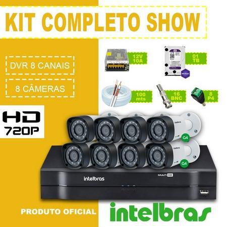 Kit cftv intelbras instalado 4 câmeras intelbras hd -