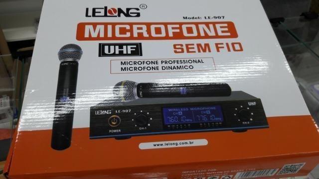 Microfone sem fio duplo digital uhf profissional lelong
