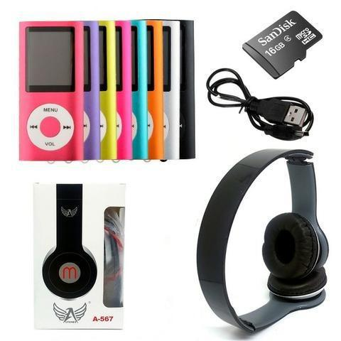 Mp3 mp4 player slim multimídia kit c/ cartão 16gb + fone m