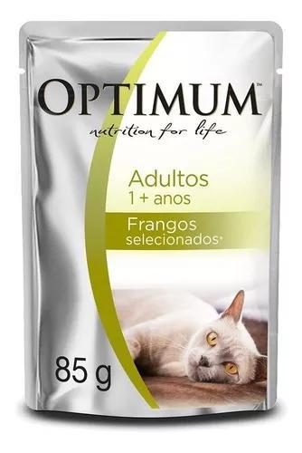 Ração úmida optimum sachê frango para gatos adultos - 85