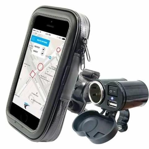 Suporte a prova de agua + carregador para celular para moto