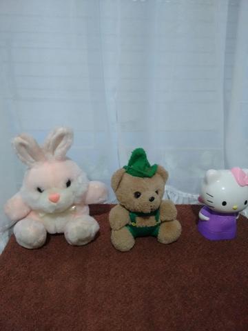 Trio coelho/ urso/hello kitty