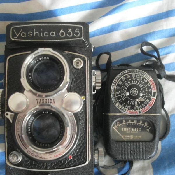 Vintage - maquina fotografica yashica 635 + fotômetro ge
