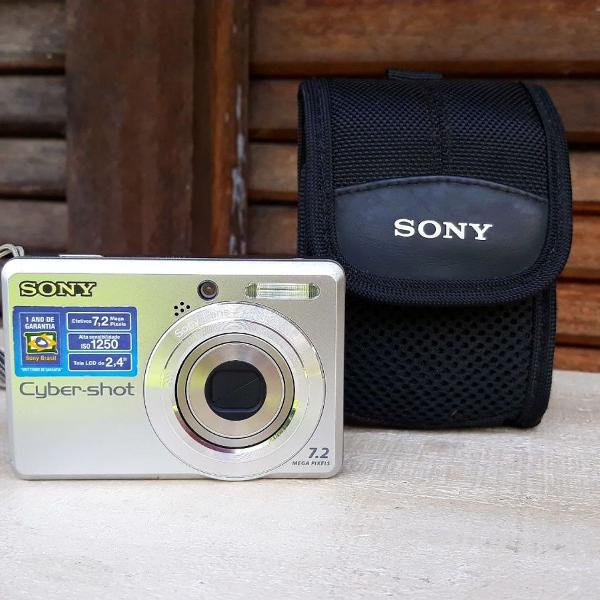 Camera digital sony cyber shot prata 7.2mp