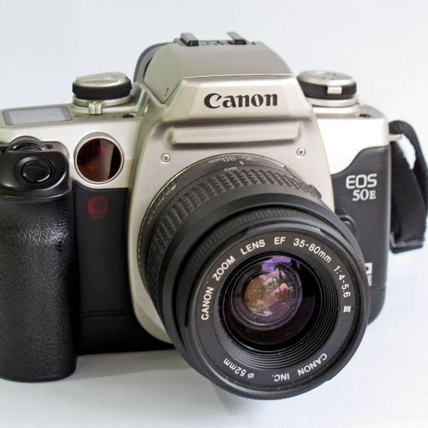 Canon eos 5oe analógica com lente canon ef zoom 35~80, 52mm