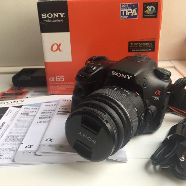 câmera digital sony a65 excelente estado, na caixa!