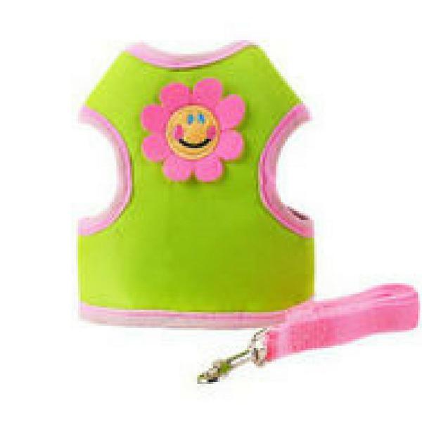 Coleira peitoral na cor verde desenho flor pet para cães