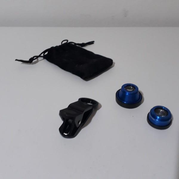 Kit lente universal 3 em 1 para celular