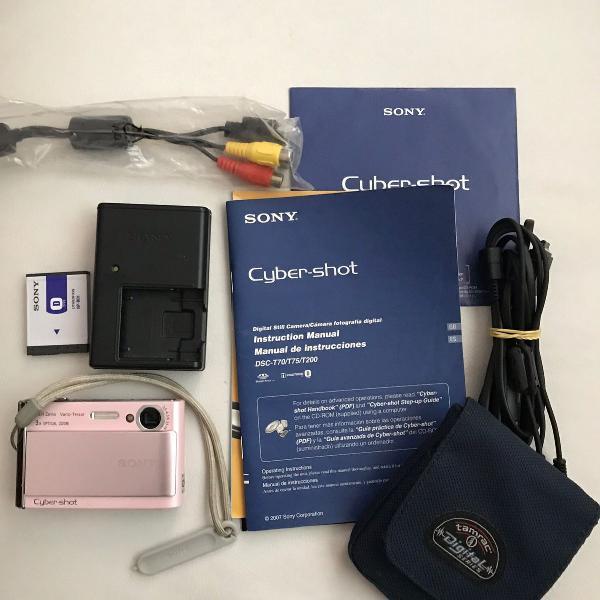 Maquina fotográfica sony mod dsc t70, com bateria e