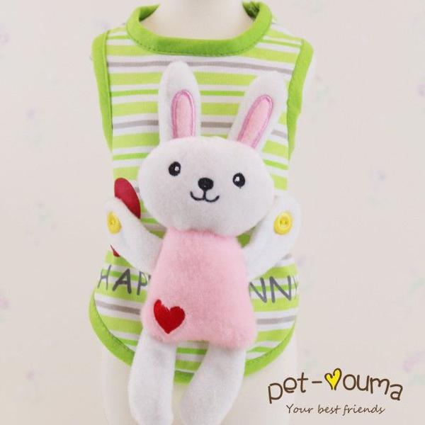 Roupa cachorro ou gato em algodão com coelho nas costas p