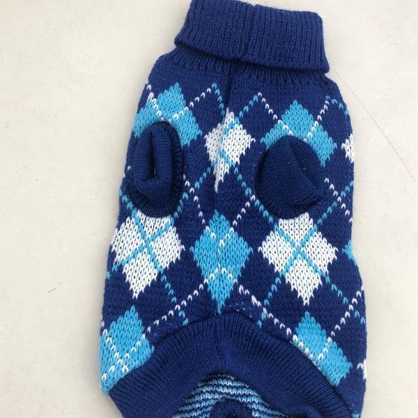 Roupa pet de trico azul