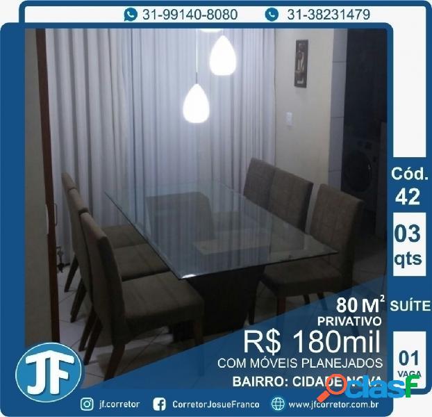 Apartamento 3 quartos cidade nova cod 42