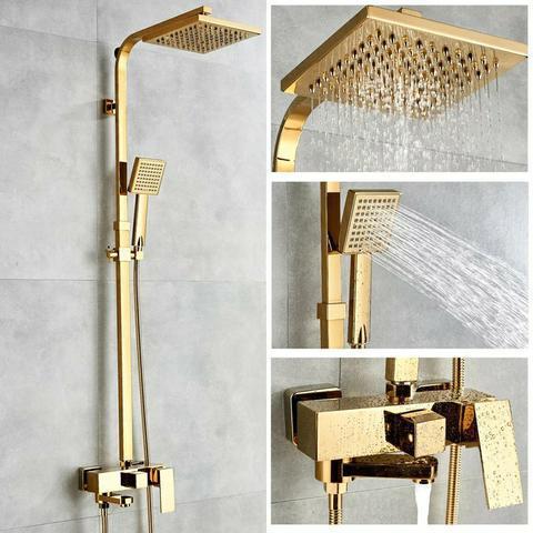 Ducha chuveiro quadrado 20x20 c/desviador e chuveirinho de