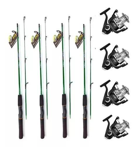 Kit pescaria leve 4 varas mais 4 molinetes xingu light promo