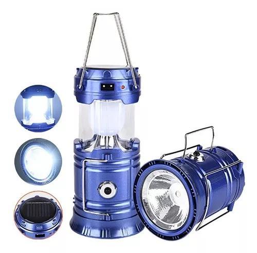 Lampião 6 led lanterna solar recarregavel bivolt usb