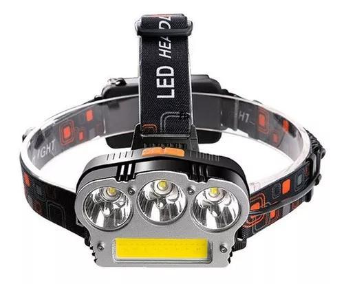Lanterna Cabeça Capacete Recarregavel 3 Led T6 + 1 Led Cob