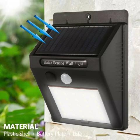 Led recarregável por luz solar com sensor de presença