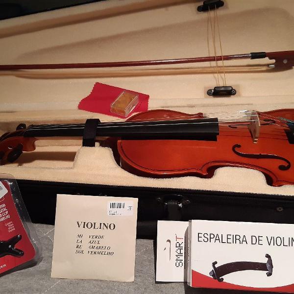 Violino marinos 4/4 + afinador, cordas extras e espaleira