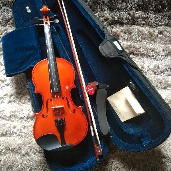 Violino mavis mv1410 4/4 com arco, case, espaleira, breu, e