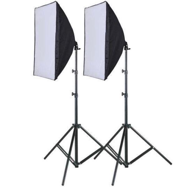 2 softboxes 50x70 + tripé p câmera de brinde