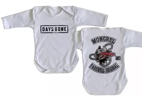 Body manga longa roupa bebe days gone logo plastation 4