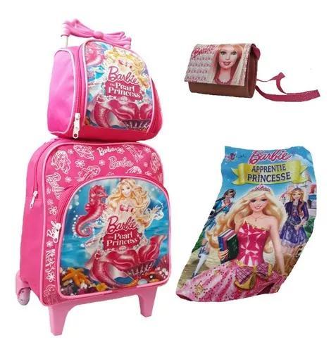 Bolsa mochila princesas criança infantil rosa rodinhas