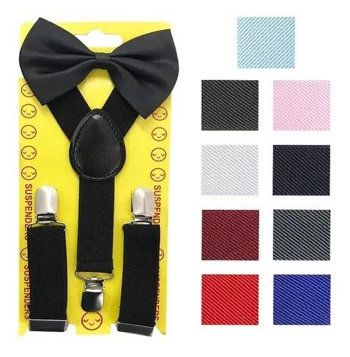 Kit 6 suspensórios + gravata borboleta infantil criança
