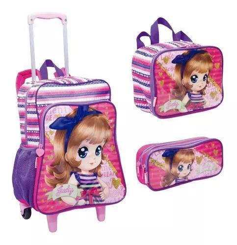 Kit escolar mochilete mochila g + lanch + est judy - sestini