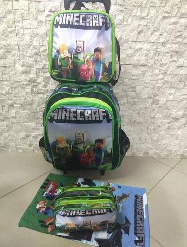 Kit mochila infantil rodinha minecraft brinde toalha