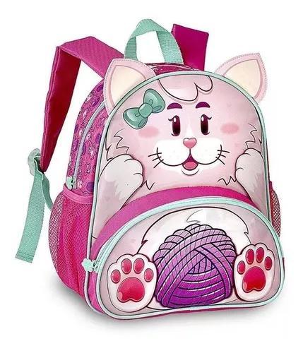 Linda mochila escolar criança menina gatinho clio pets