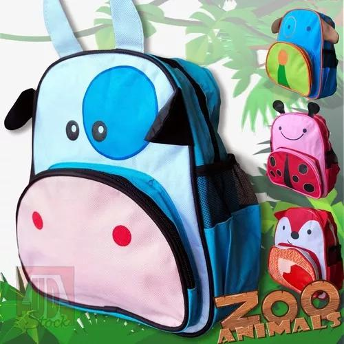 Mochila infantil animais zoo bichinhos pet bolsa para creche
