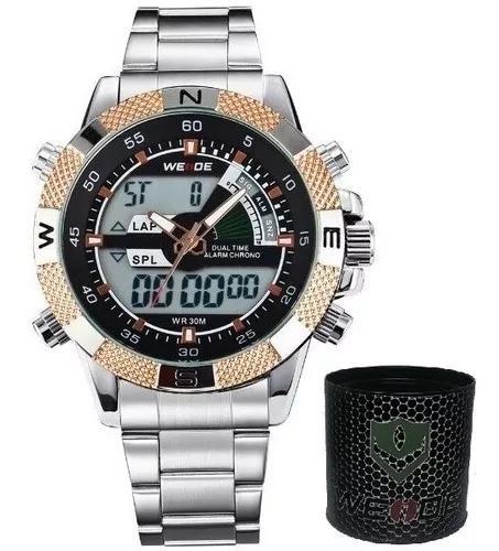 Relógio masculino original grande prata cinza prova de