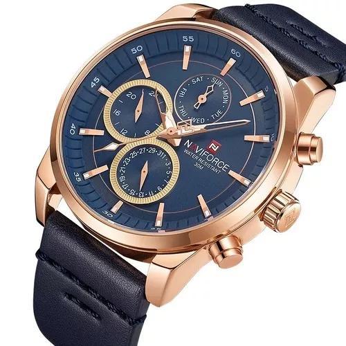 Relógio naviforce 9148 cronógrafo pulseira couro