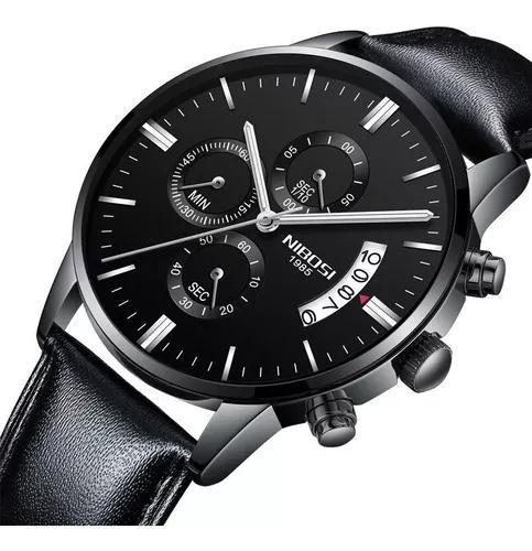 Relógio nibosi cronógrafo luxo pulseira couro à prova