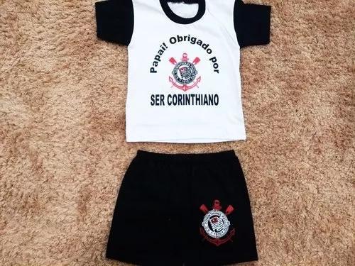 Roupinha para bebê criança do corinthians papai obrigado