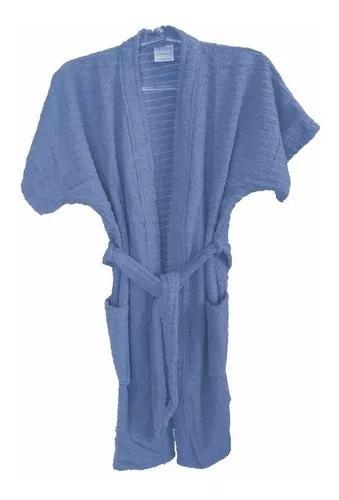 Roupão de banho atoalhado juvenil algodão azul 14