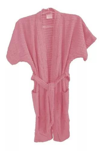 Roupão de banho atoalhado juvenil algodão rosa 16