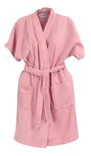 Roupão de banho veludo juvenil algodão rosa 16