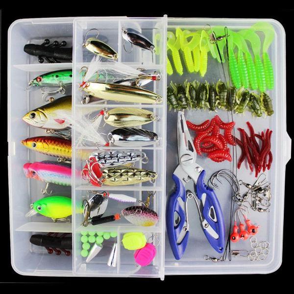 Caixa anzóis 101 peças isca de pesca acessórios + alicate