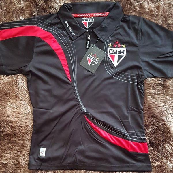Camisa de time polo feminina são paulo preta tam m