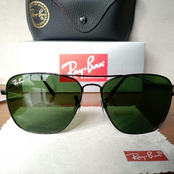 Culos de sol rayban caravan 3136 lentes de cristal verde
