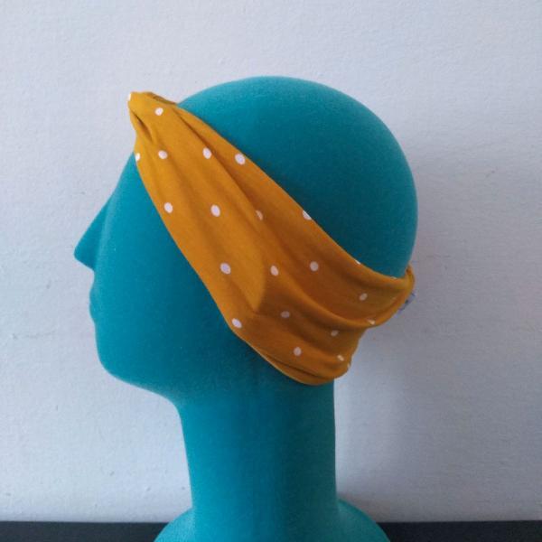 Faixa de cabelo de poa amarela com bolinhas brancas