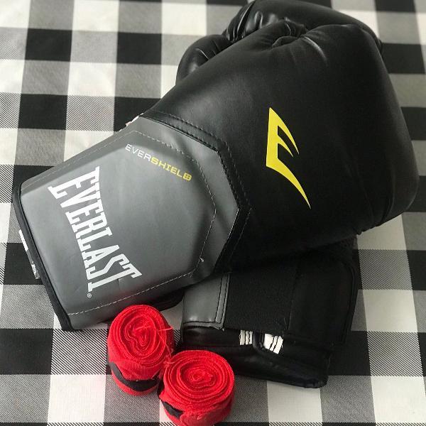 Luva de boxe/muay thai everlast pro style - 12 oz + bandagem