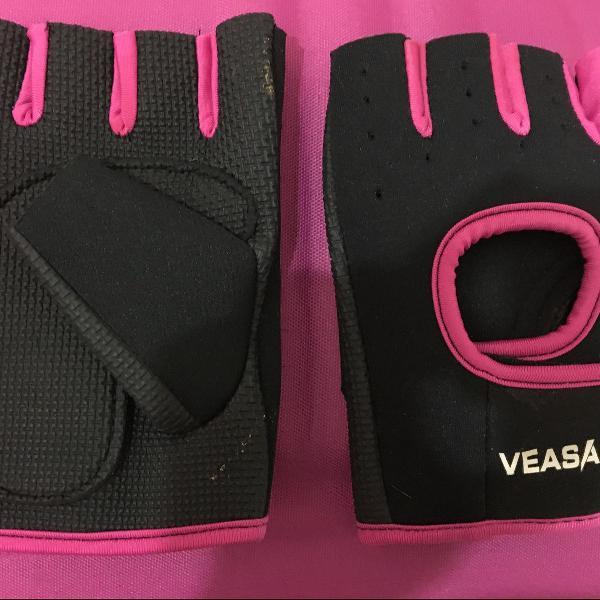 Luvas de academia palma antiderrapante preto+rosa