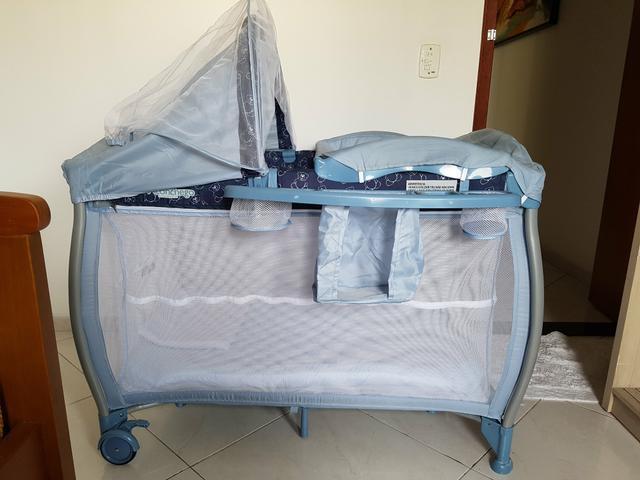 Berço com trocador e tela mosquiteira - aconchego - blue -