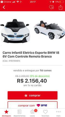 Carro infantil elétrico bmw i8 com controle e nf
